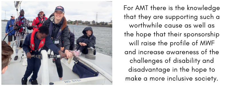 Picture of Alana from AMT with students onboard a Winds of Joy sail