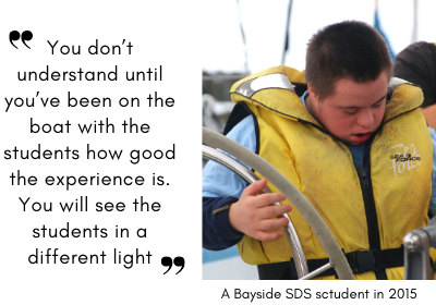 Image of a Bayside student on the boat in 2015